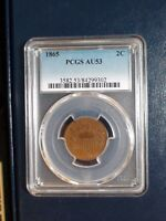 1865 TWO CENT PIECE PCGS AU53 2C COIN PRICED TO SELL QUICKLY