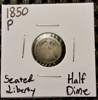 1850 P SEATED LIBERTY HALF DIME  90  SILVER