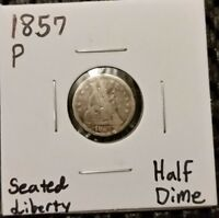 1857 P SEATED LIBERTY HALF DIME  90  SILVER