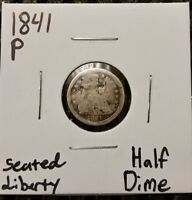 1841 P SEATED LIBERTY HALF DIME  90  SILVER