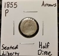 1855 P ARROWS SEATED LIBERTY HALF DIME  90  SILVER