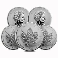 LOT OF 5   2017 1 OZ SILVER CANADIAN MAPLE LEAF 150TH ANNIVE