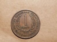 1955 EAST CARIBBEAN STATES BRITISH CARIBBEAN TERRITORIES 1 CENT COIN PENNY