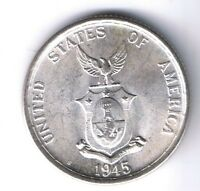 1945 S PHILIPPINES AMERICAN 50 CENTAVOS SILVER COIN WWII UNCIRCULATED UNC MS