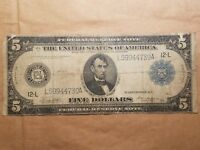 1914 $5 FEDERAL RESERVE NOTE SAN FRANCISCO BANK WHITE MELLON FR. 891B LARGE SIZE