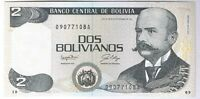 1986 BOLIVIA 2 BOLIVIANOS SOUTH AMERICA P. 202 CRISP UNCIRCULATED UNC CU