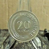 CIRCULATED 1967 20 CENTS SINGAPORE COIN  3217  1 ..