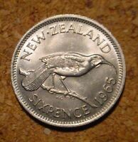 BEAUTIFUL HI GRADE BU 1965 6 PENCE NEW ZEALAND WEDDING GIFT  SUPERB DETAILS