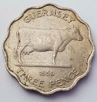 DATED : 1959   GUERNSEY   CHANEL ISLANDS   THREEPENCE   COIN