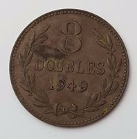 DATED : 1949   GUERNSEY   CHANEL ISLANDS   8 DOUBLES   COIN