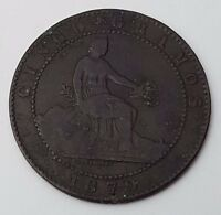 DATED : 1870   SPANISH   CINCO CENTIMOS   COPPER COIN