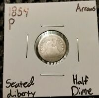 1854 P ARROWS SEATED LIBERTY HALF DIME  90  SILVER