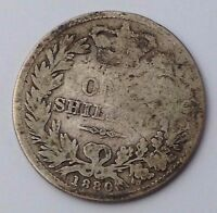 DATED : 1880   SILVER COIN   ONE SHILLING   QUEEN VICTORIA   GREAT BRITAIN