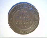 1922 AUSTRALIA LG ONE PENNY CIRCULATED MEDIUM GRADE BRONZE COIN  AUST 105