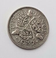 DATED : 1932   SILVER   THREEPENCE / 3D   COIN   KING GEORGE V   GREAT BRITAIN