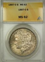 1887-O MORGAN SILVER DOLLAR $1 COIN ANACS MINT STATE 62 TONED