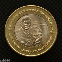 INDIA 10 RUPEES 2015  GANDHI'S RETURN OF SOUTH AFRICA . EF. COMMEMORATIVE COIN.
