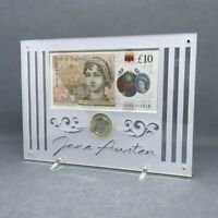 PERSPEX DISPLAY FOR JANE AUSTEN 10 NOTE AND 2 COIN  DISPLAY ONLY