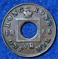 HONG KONG 1 MIL 1866 SINGLE YEAR ISSUE KM3 VICTORIA