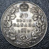 OLD CANADIAN COIN 1919   50 CENTS   .925 SILVER   GEORGE V  WWI ERA NICE DETAILS