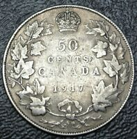 OLD CANADIAN COIN   1917   50 CENTS   .925 SILVER   GEORGE V   WWI ERA   NICE