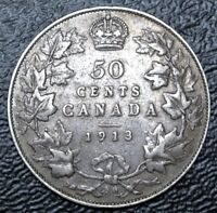 OLD CANADIAN COIN 1913   50 CENTS   .925 SILVER   GEORGE V   NICE DETAILS