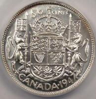 1947 CANADA 50 CENTS  50C  STRAIGHT 7   ANACS MS63    UNCIRCULATED COIN