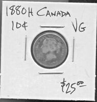 CANADA   BEAUTIFUL HISTORICAL QV SILVER 10 CENTS 1880 H KM 3