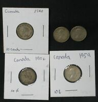 LOT OF 5 CANADA SILVER 10 CENT COINS 1906 1940 1959X2 1962