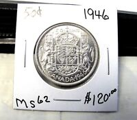 1946 CANADIAN 50 CENT COIN SILVER   BEAUTIFUL COIN    MS 62 .  ITEM 5501