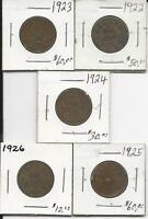 SMALL CANADIAN PENNY KEY DATE SET 1922 1923 1924 1925 1926
