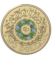 2017 AUSTRALIAN $2 TWO DOLLAR COIN   ANZAC REMEMBRANCE ROSEMARY BLUE / GREEN