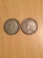 COLLECTABLE COINS: GB 1 SHILLING  1/20 LSD  GEORGE V HEAD 1935 SILVER .500 PAIR