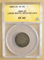 1864 TWO CENT PIECE -LARGE MOTTO & ROTATED DIES- ANACS EF 40