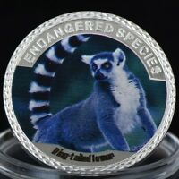 RING TAILED LEMUR MONKEY   ENDANGERED ANIMAL SPECIES 40MM UNC COMMEMORATIVE COIN