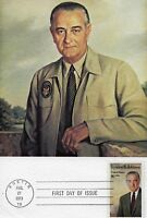 U.S PRESIDENT LYNDON B. JOHNSON FIRST DAY OF ISSUE  STAMP ON CARD 8 POSTAGE