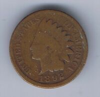 1892 INDIAN HEAD CENT 1 PENNY COIN