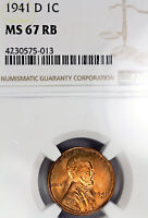 1941-D MINT STATE 67 RB RED BROWN LINCOLN WHEAT CENT 1C PENNY, NGC GRADED
