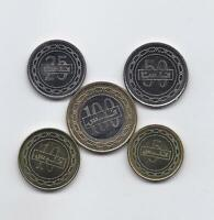 BAHRAIN FULL 5 HIGH GRADE 2010   2012 COINS SET 5 TO 100 FILS BIMETALLIC COIN