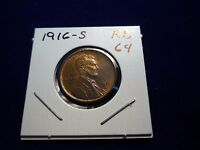 1916 S LINCOLN CENT  UNC  RED BROWN   RB   STRIKE