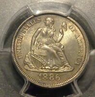 PCGS CERTIFIED MINT STATE 64 TONED & EYE APPEAL 1886 SEATED LIBERTY SILVER 10C DIME
