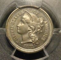 PCGS CERTIFIED PR64 CAMEO  1871 THREE 3C NICKEL NICKLE TYPE COIN