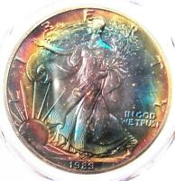 1989 TONED AMERICAN SILVER EAGLE DOLLAR $1 ASE - PCGS MINT STATE 67 - RAINBOW TONING COIN