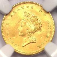1854 TYPE 2 INDIAN GOLD DOLLAR G$1 COIN - NGC AU DETAILS -  -  LUSTER
