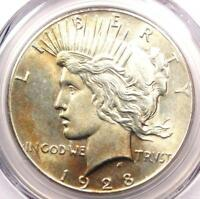 1928 PEACE SILVER DOLLAR $1 - PCGS UNCIRCULATED DETAIL -  1928-P MS UNC COIN