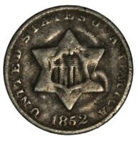 CIRCULATED 1852 THREE CENT SILVER TRIME  3CS COIN 3 CENT PIECE