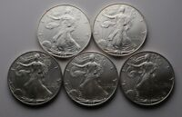 LOT OF FIVE 1996 AMERICAN SILVER EAGLE ONE OZ COINS KEY DATE 5 OZ TOTAL