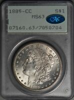 1885-CC $1 MORGAN SILVER DOLLAR PCGS MINT STATE 63 & CAC RATTLER VAM 2A