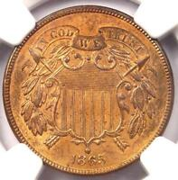 1865 TWO CENT PIECE 2C - NGC UNCIRCULATED DETAILS MS UNC -  CERTIFIED COIN