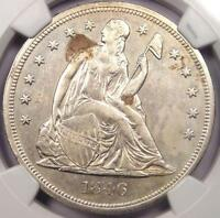 1846 SEATED LIBERTY SILVER DOLLAR $1 - NGC AU DETAILS -  EARLY DATE COIN